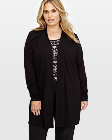 Michel Studio Edge to Edge Cardigan.Black.2X 87328267
