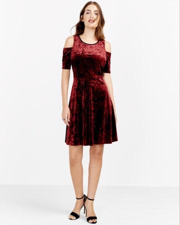 Cold Shoulder Velvet Dress