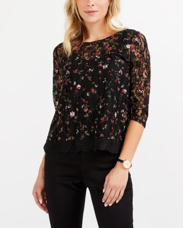 Printed Lace Top