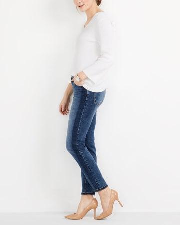 Jeans skinny avec bande contrastante