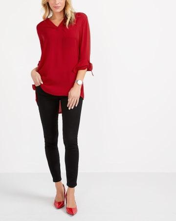 Adjustable Sleeve High-Low Hem Tunic Top