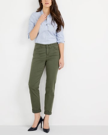Pantalon uni Chino à jambe étroite Long