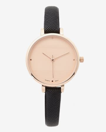 Montre-bracelet rose et or Saffiano