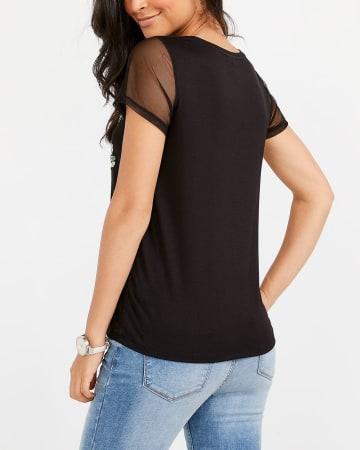 T-shirt à appliqué et manches en maille