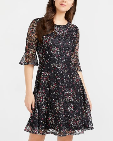 Ruffle Lace Printed Dress