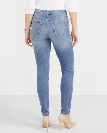 Printed Light Wash Skinny Jeans