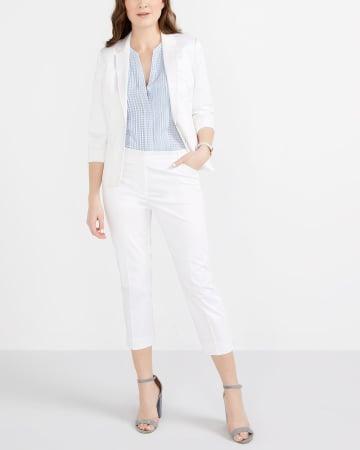 Petite Cotton Blend Solid Cropped Pants