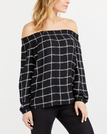 Printed Off-The-Shoulder Blouse