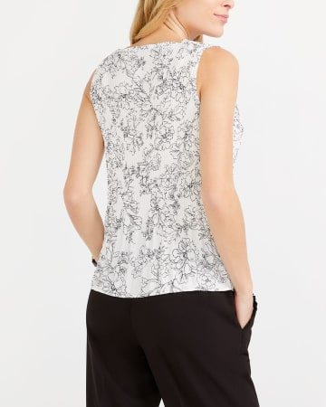 Sleeveless Printed Pleated Blouse