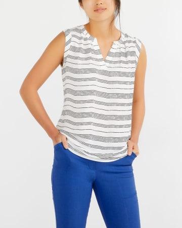 Sleeveless V-Neck Striped Blouse