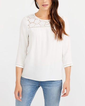 ¾ Sleeve Crochet Blouse