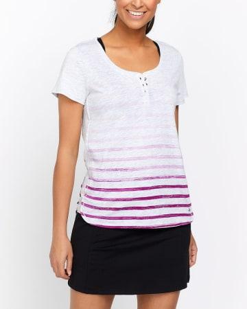 Hyba Printed Henley T-Shirt