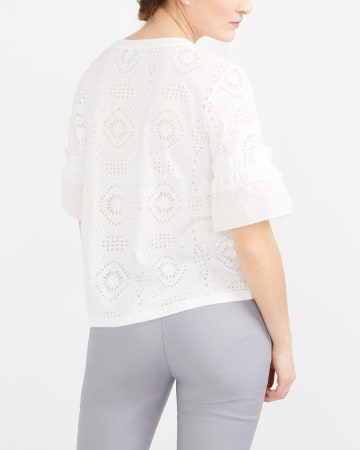 Crochet Lace ¾ Sleeve Top