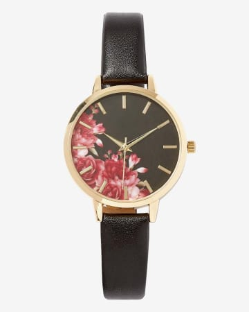 Floral Dial Wristwatch