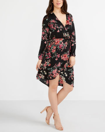Asymmetrical Hem Printed Wrap Dress