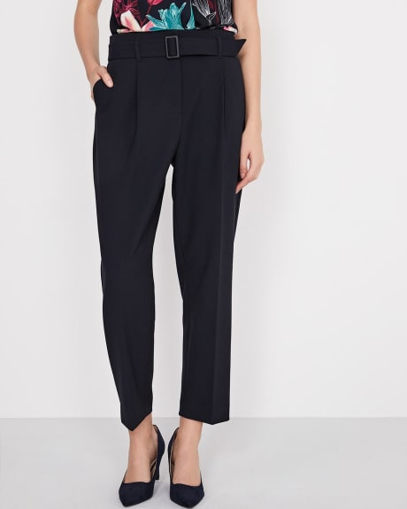 High-waist belted paperbag pant