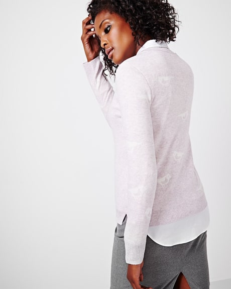 Cashmere-like Sweater with bird print