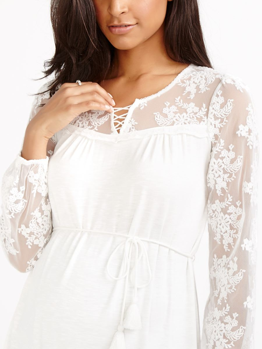 Embroidered Mesh Sleeve Maternity Top