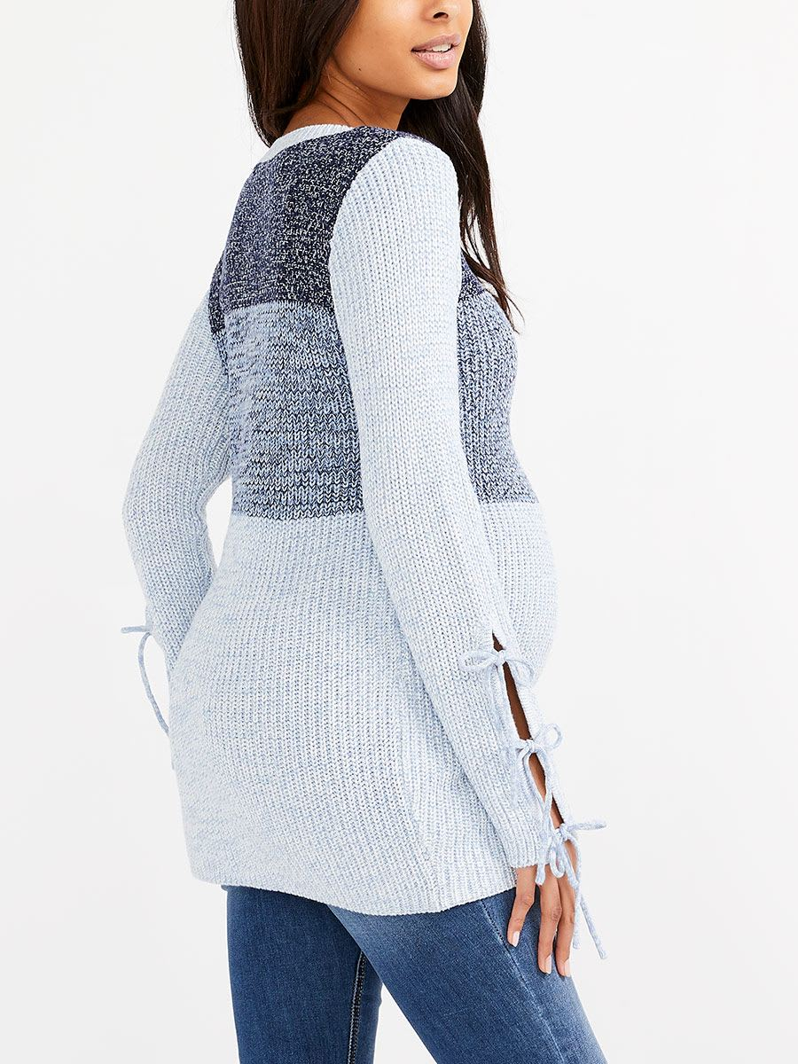 Long Sleeve Maternity Sweater with Ties