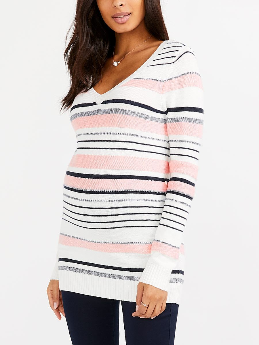 Long Sleeve Striped Maternity Sweater