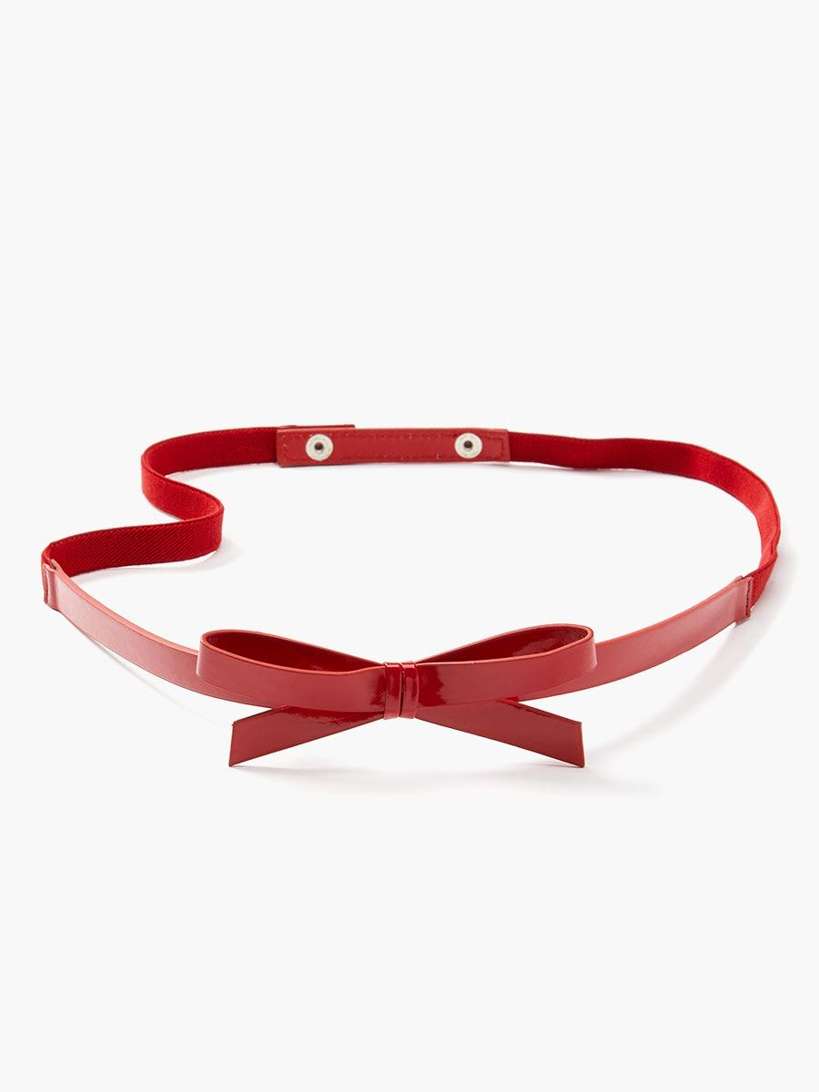 Faux-Leather Bow Maternity Belt