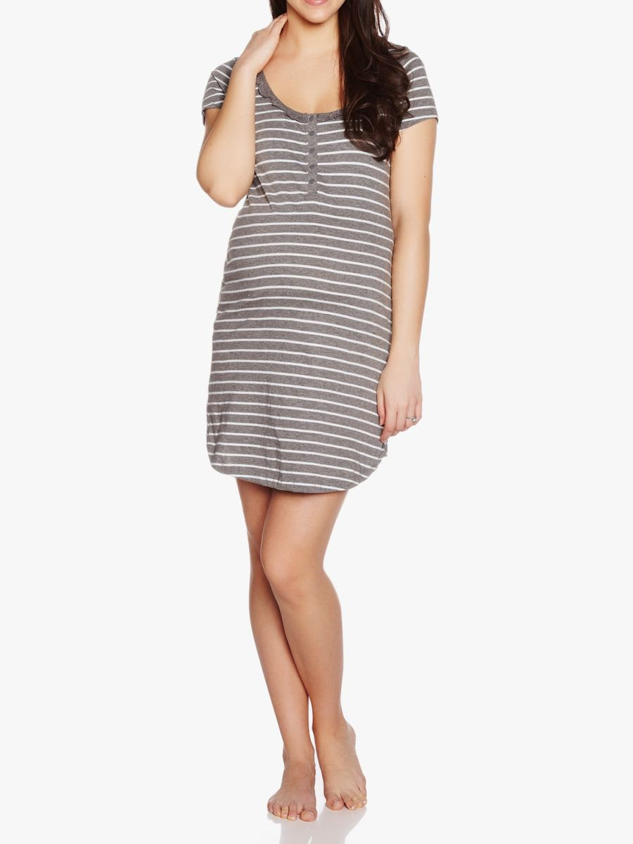 Striped maternity nightdress shop online at thyme maternity striped maternity nightdress ombrellifo Choice Image