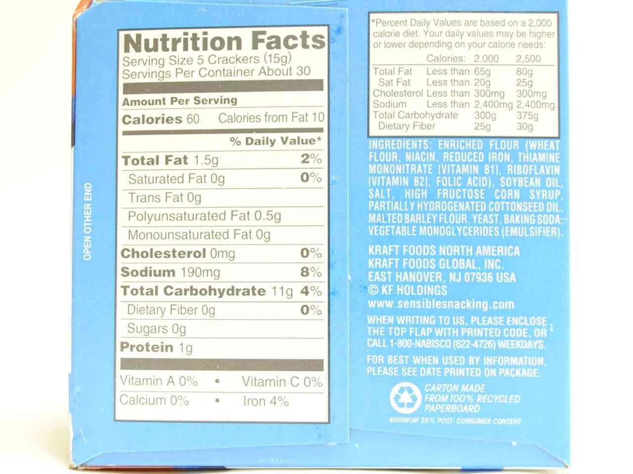 Saltine crackers nutrition label