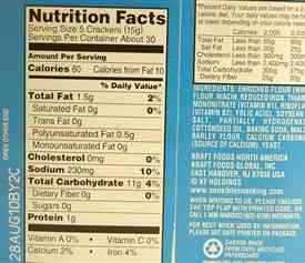 Calories for saltine crackers