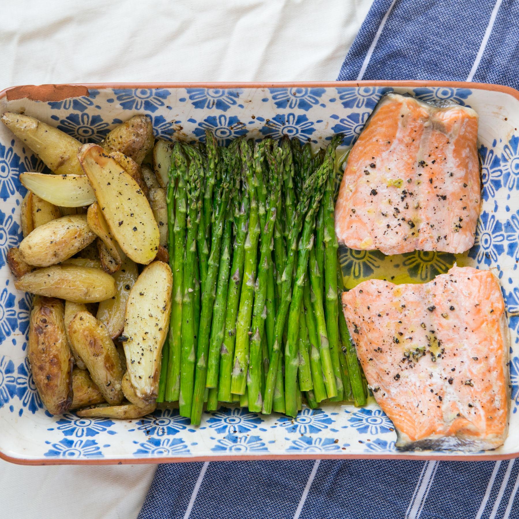 One Pan Salmon, Asparagus, And Potatoes