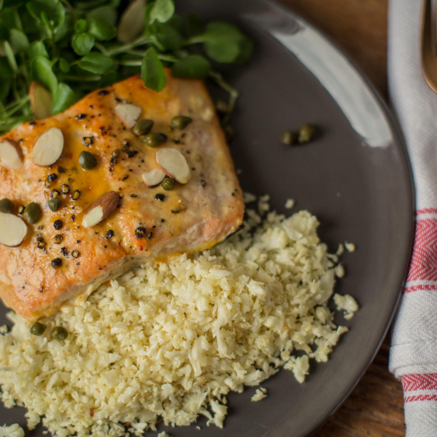 Honey Mustard Salmon with Cauliflower Rice and Watercress Salad