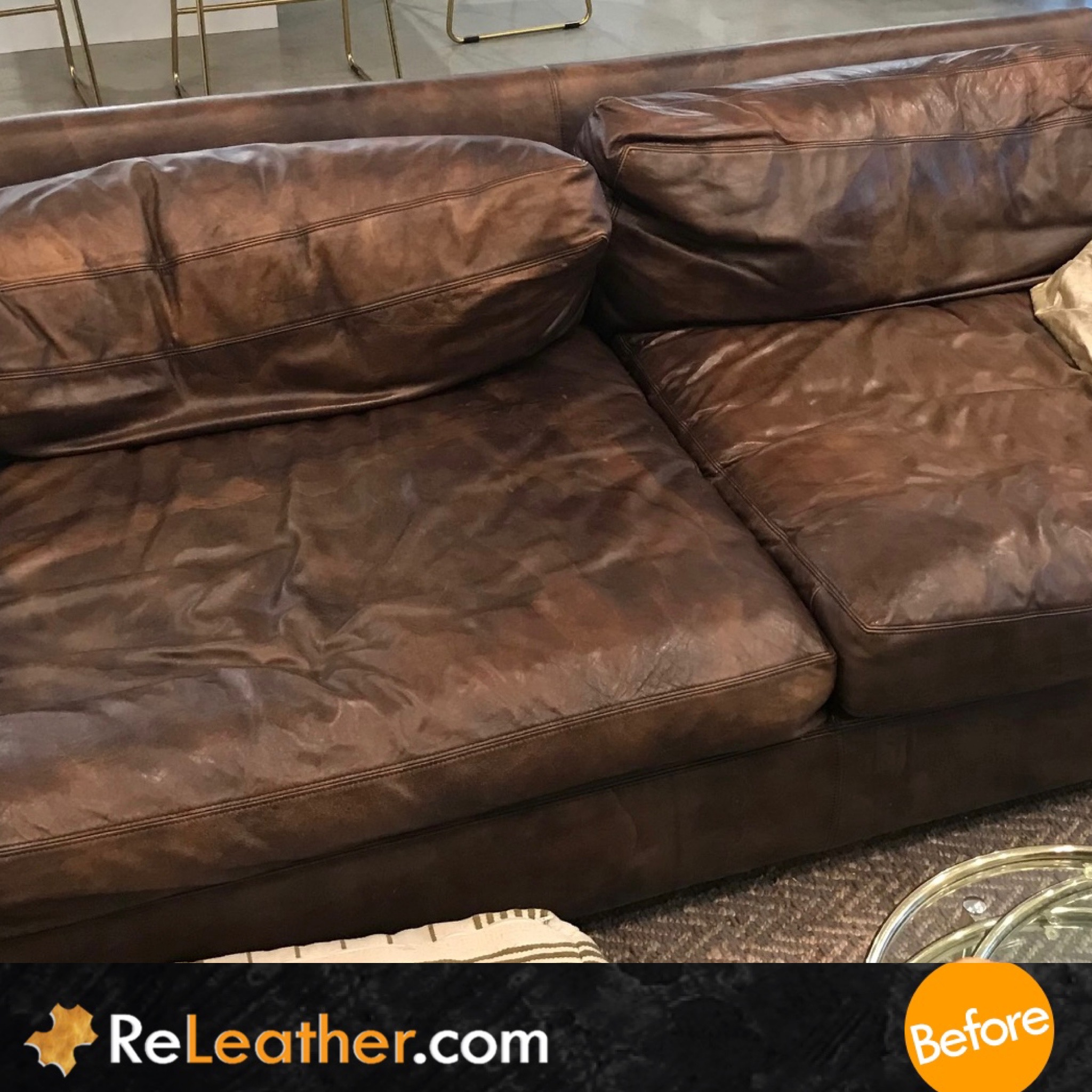 Before Picture of Leather Cleaning Sofa in San Diego