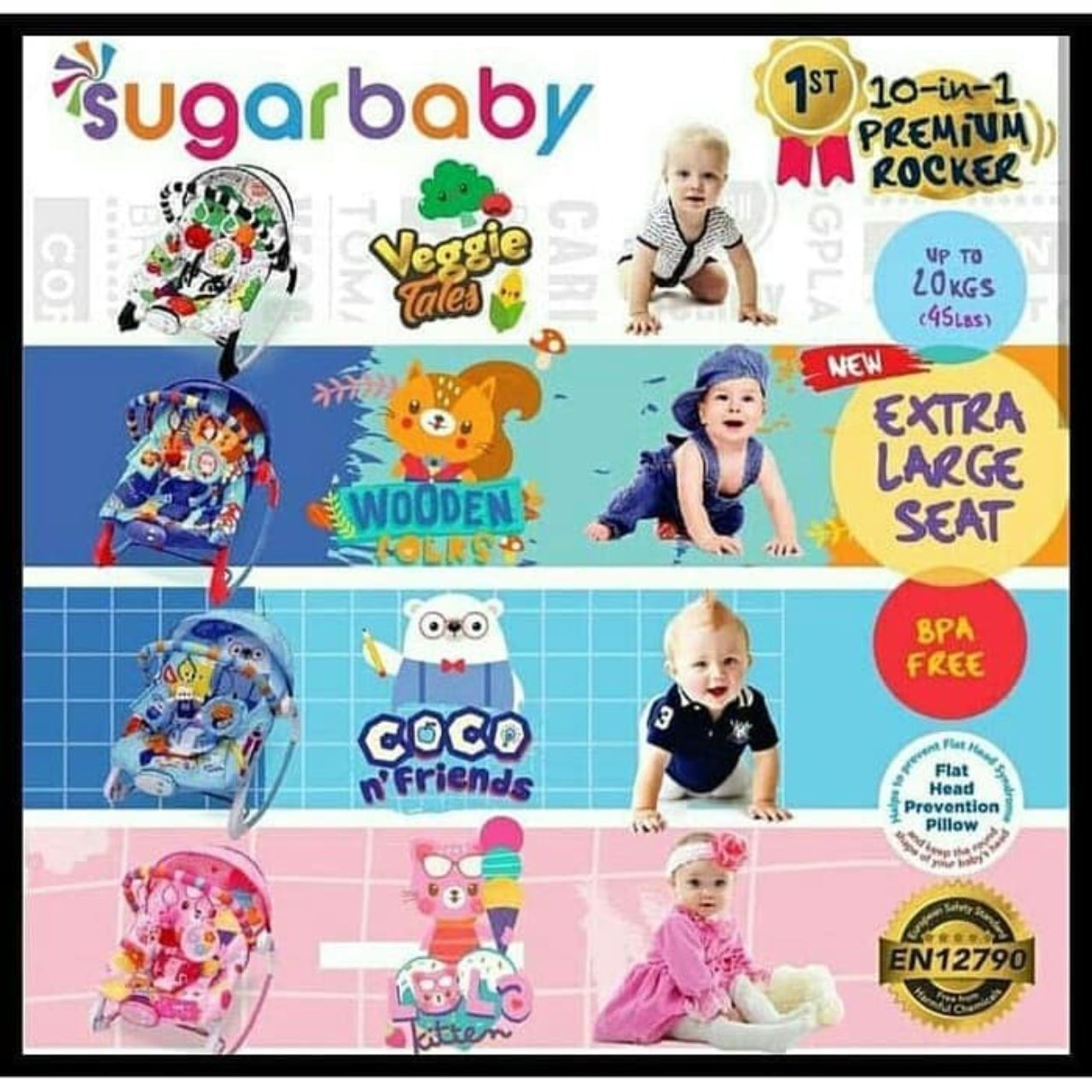 Premium Baby Bouncer New 10 in 1 type Coco n Friend1