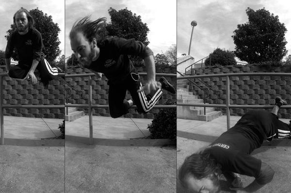 Falling over a railing