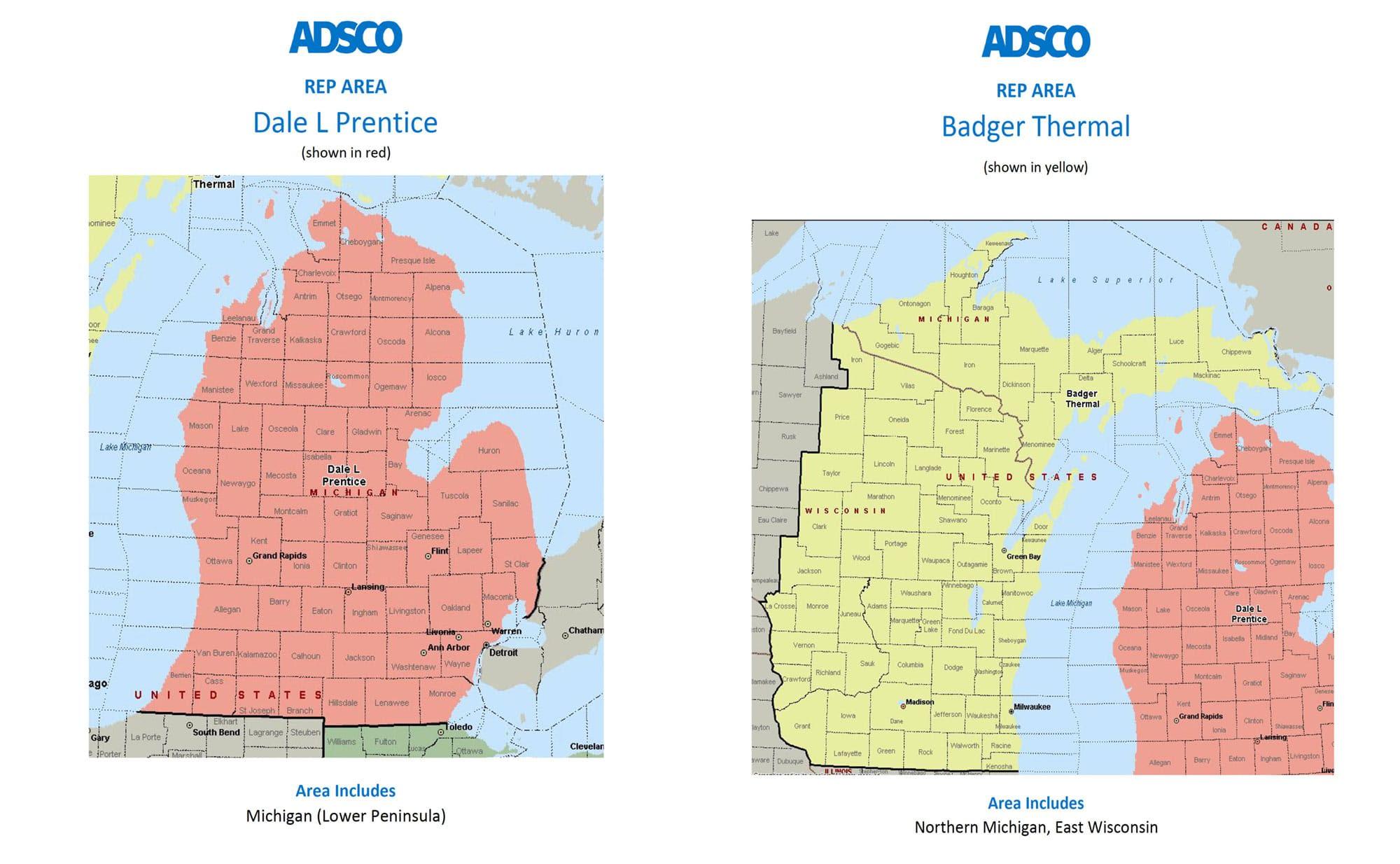 adsco reps Michigan and Wisconsin map
