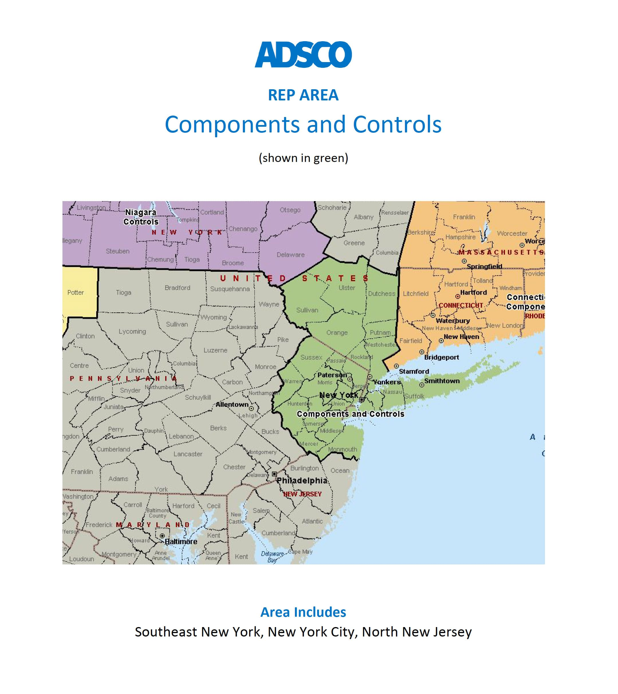 adsco new york and new jersey rep map