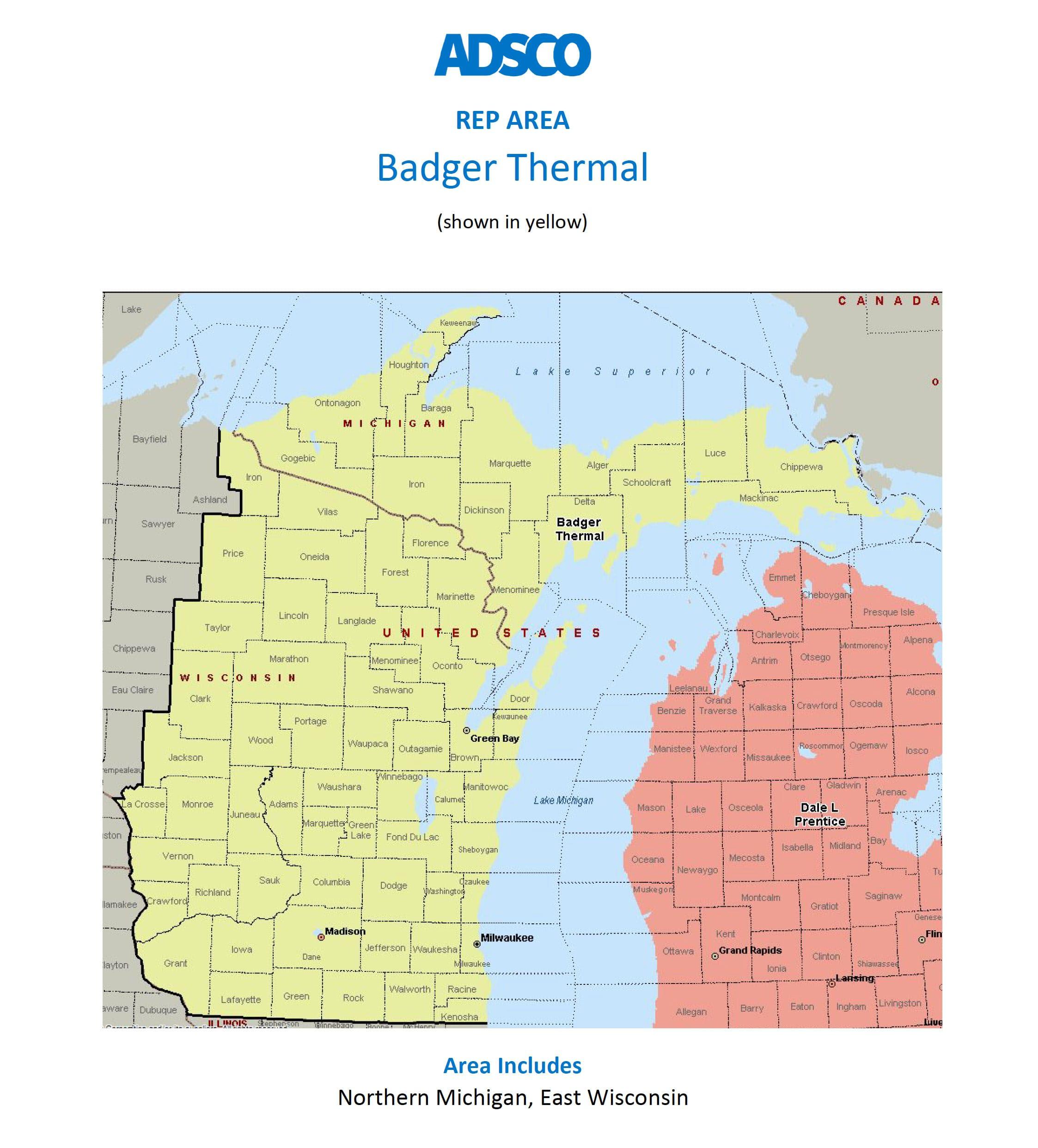 adsco michigan and wisconsin rep map