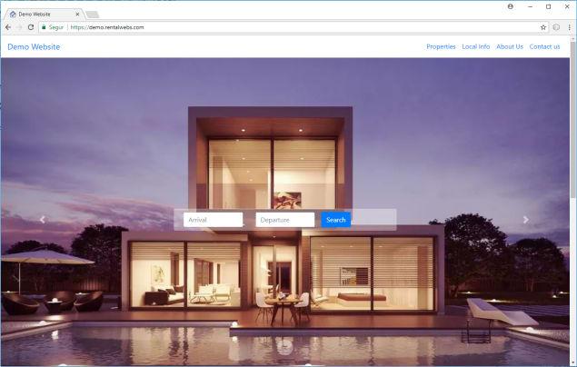 Demostración de una página web creada con RentalWebs