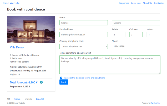 Proceso de reserva para la web de un alquiler vacacional