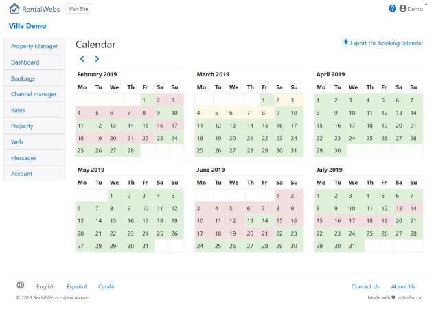 Calendario de disponibilidad para una casa de alquiler vacacional.
