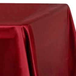 8ft Apple Red Lamour Satin Tablecloth