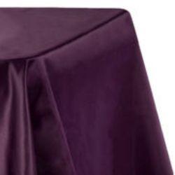 8ft Plum Lamour Satin Tablecloth