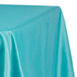 8ft Turquoise Lamour Satin Tablecloth