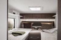 Etrusco 7400 Bett hinten - wahlweise als Doppelbett oder als Kingsizebett