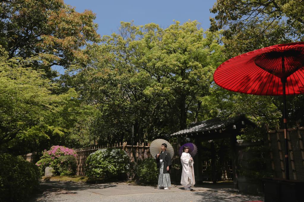 小休憩用のスペースに赤い番傘が!より風情ある写真になりました!