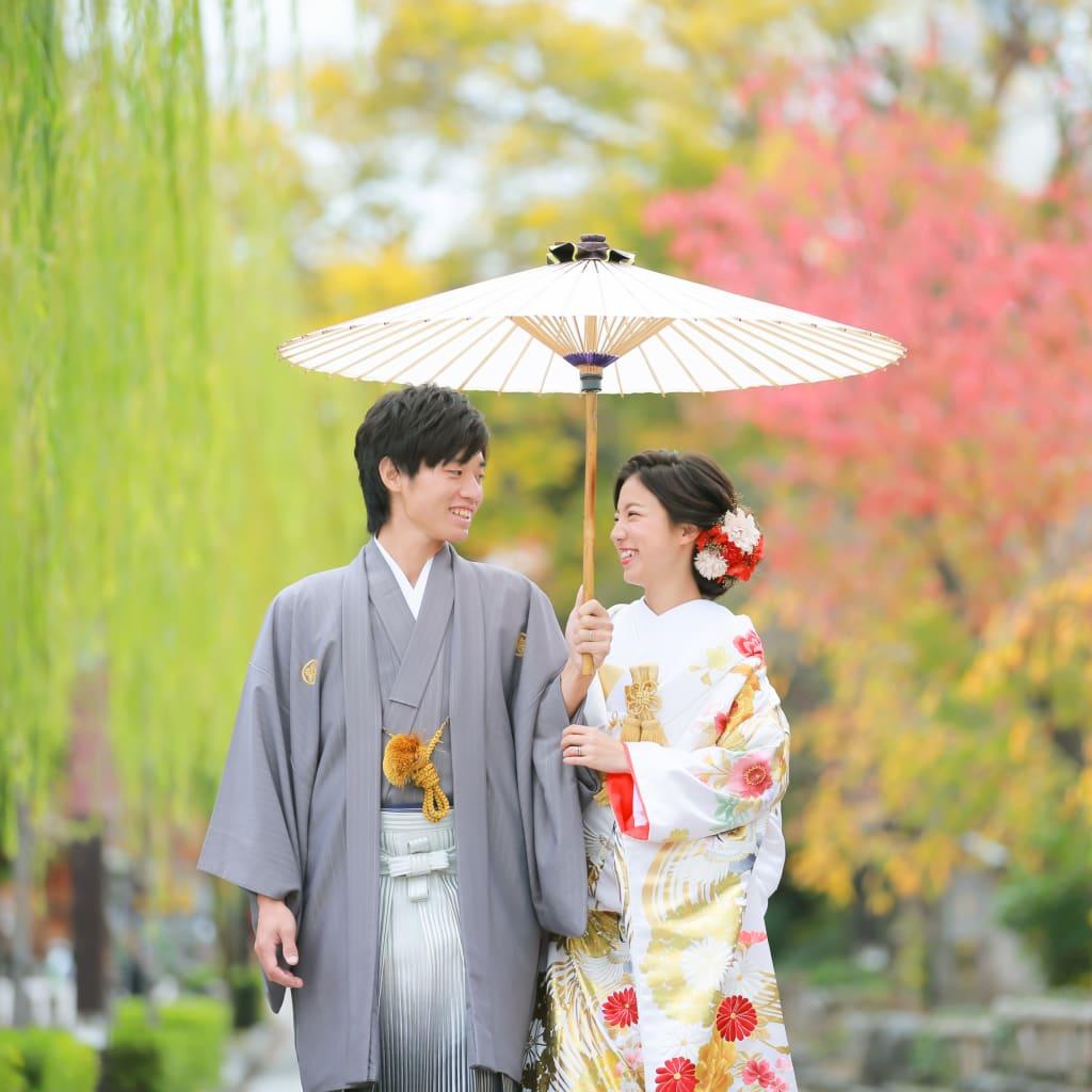 秋の祇園ロケとチャペルでフォトウェディング!