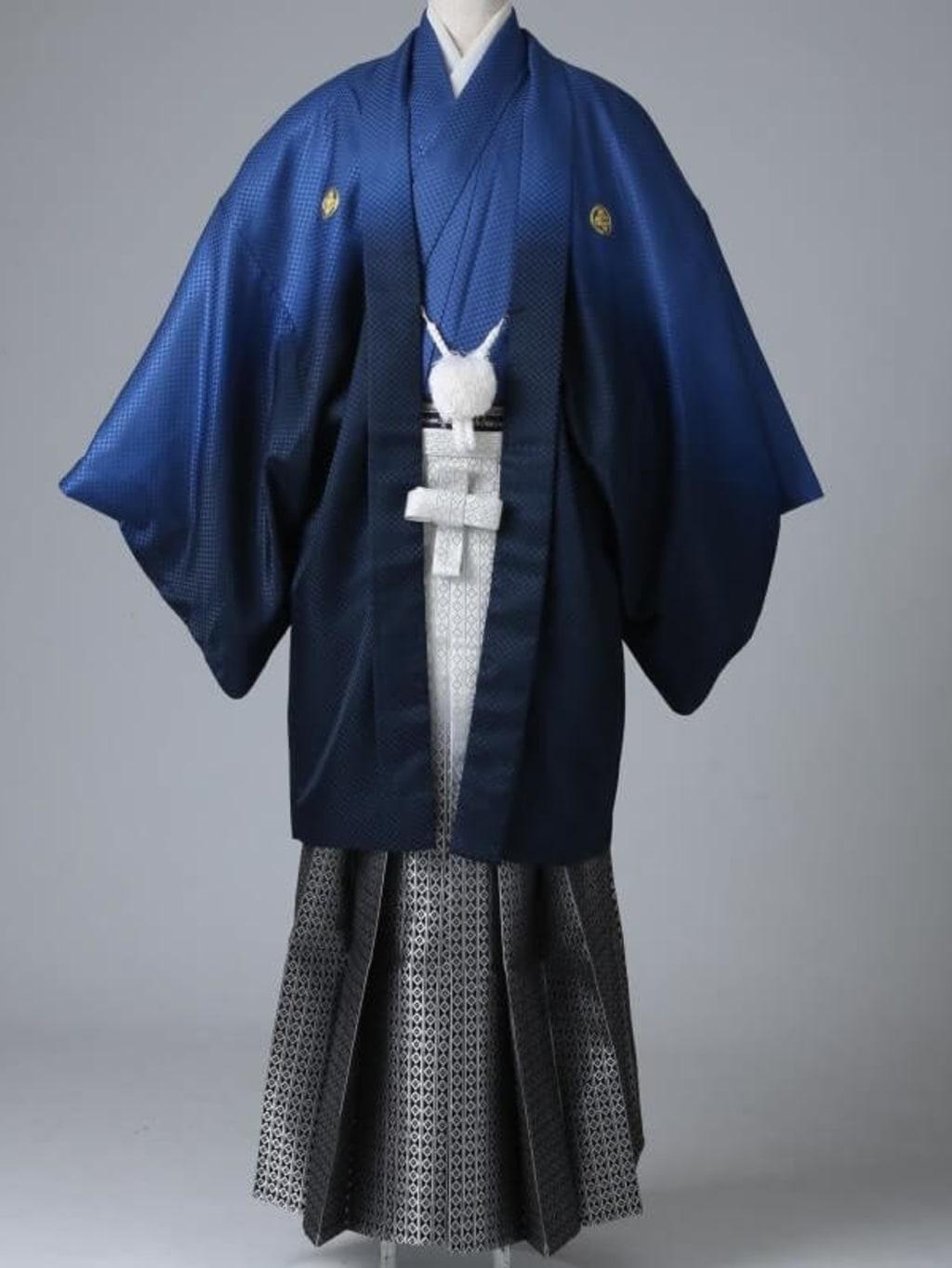 ネイビーグラデーション紋服 グラデーション袴_横浜店