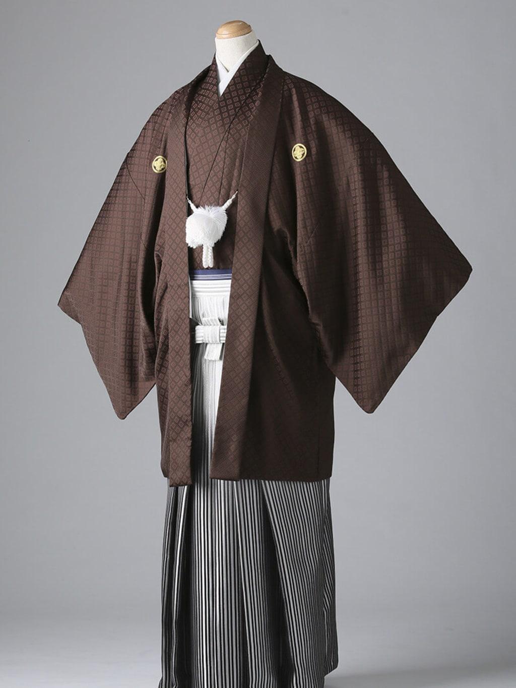 茶紋付×グラデーション袴