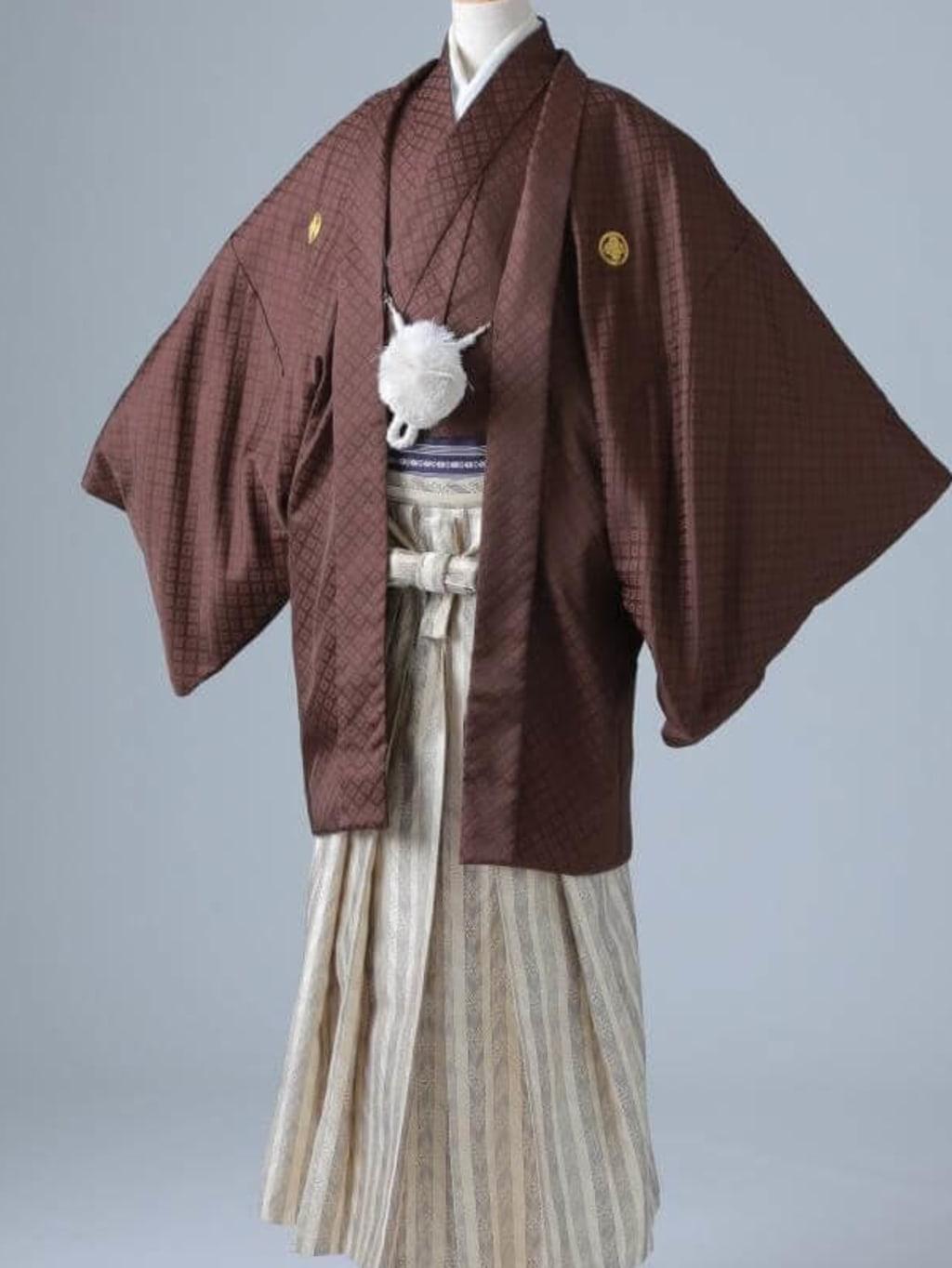 ブラウン紋服 ゴールド袴_横浜店