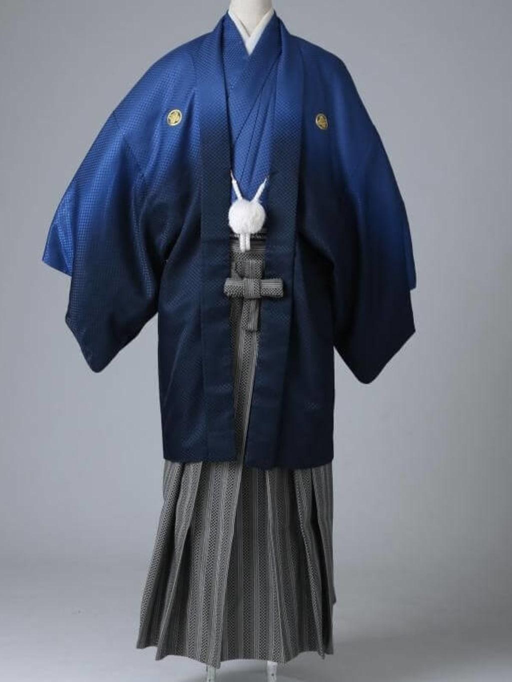 ネイビーグラデーション紋服 格子柄袴_横浜店