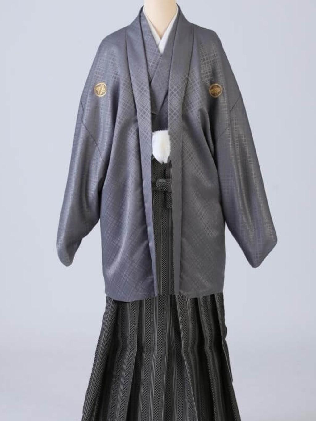 グレー紋服 格子柄袴_横浜店